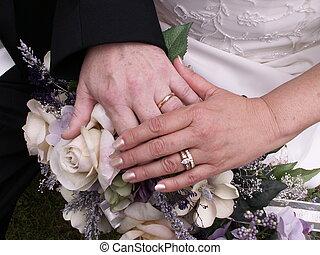 wedding hands - bride and groom\\\'s hands