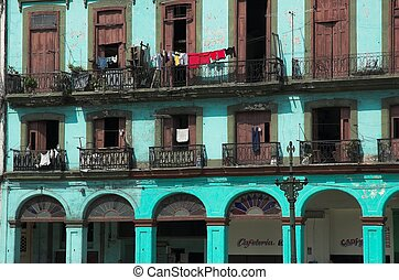 Havana Living - balconies of cuban apartments in old havana...