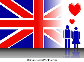 England flag - An abstract of England flag and Valentine...