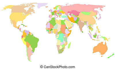 World Map - Colored Map - Africa, America, Asia, Europe...