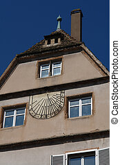 Medieval Sundial - A medieval sundial in a small town in...