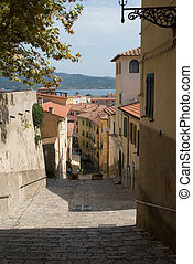 Italian street - a typical street on Italian island Elba