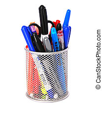 Pen Holder - Pewter Round Desktop pen pencil holder