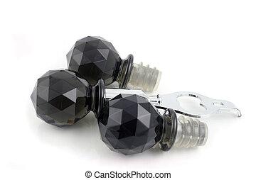 Black Bottle Stopper and Opener - Black Bottle opener and...