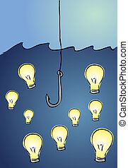 Fishing for ideas: illustration of a fishing hook looking...