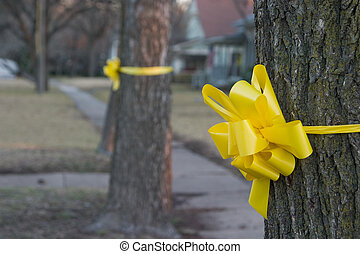 Yellow Ribbon Around An Old Oak Tree 1