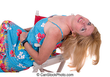 Blond Leaning Back In Chair