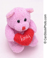 honey heart bear 2 - Stuffed valentines bear holding heart...