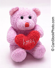honey heart bear 3 - Stuffed valentines bear holding heart...