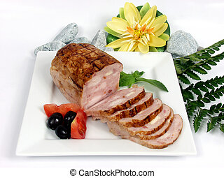 Chicken - chicken and pork pie with tomato on white platter