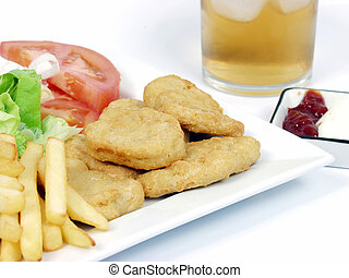 Chicken nuggets - chicken nuggets with salad, tomato, fries...