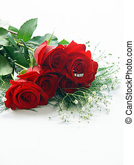 Half Dozen Roses with Diamond Ring - Half dozen red rose...