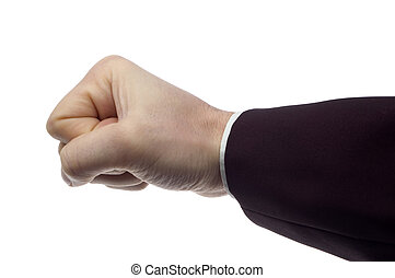 fist - business men hand on white close up