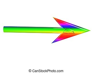 Iridescent arrow on - The iridescent cursor from a glass on...