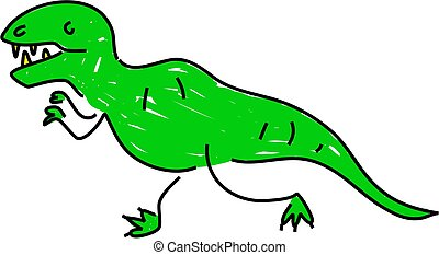 tyrannosaurus rex dinosaur isolated on white drawn in...
