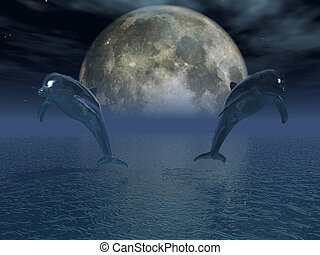 Big Moon - 3D render of two jumping dolphins - big moon in...