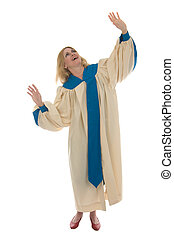Blond Woman Praising God - Woman in church choir robe with...