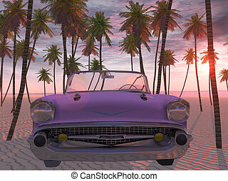 Dreamcar - 3d render of a cadillac on the beach