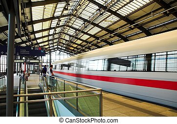 Train departing in Berlin train station