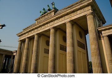 Brandenburg Gate in Berlin at Sunrise.