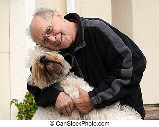 Happy senior man and - An old man and his dog