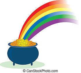 Pot of Gold - Pot of gold with a rainbow shining in it