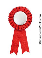 vermelho, distinção, fitas, emblema