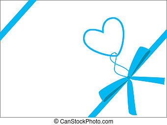 Blue ribbon & heart - Cute gift with blue ribbon, version...