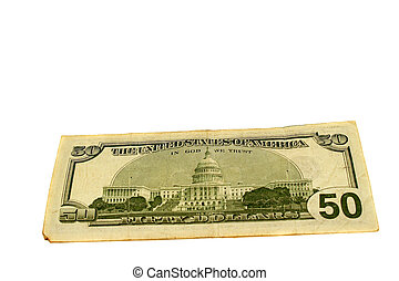 Fifty Dollar Bill - The back of a used fifty dollar bill...