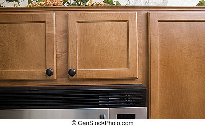 modern cabinets - closeup of modern kitchen cabinets