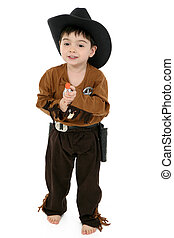 Deputy - Three year old boy dressed in cowboy, deputy...