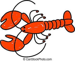 lobster - a red lobster isolated on white drawn in toddler...