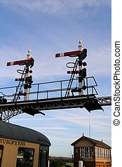 Carriage and Signals - Vintage Railway Carriage, Signal...