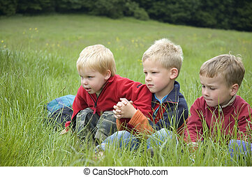 Three Friends in the grass - Three boyfriends sitting in the...