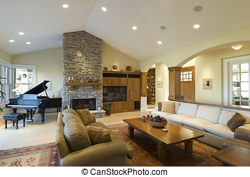 spacious living room - living room in custom home,stone...