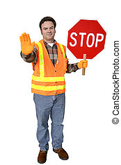Crossing Guard Full Body Isolated - A friendly school...
