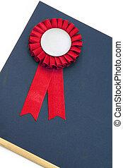 certificado, distinção, fitas, emblema