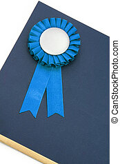 Certificate and award ribbons badge with white background