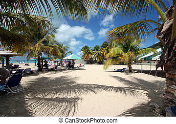 A crowded beach scene - A busy beach in Antigua