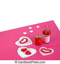 Making Valentine Cards - Sewing Notions on Pink Textured...