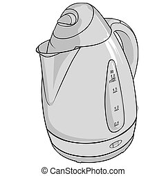 Kettle BW - Black & White illustration.