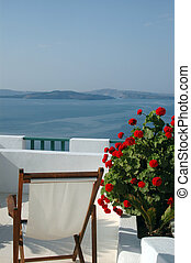 scenic view santorini - scenic view patio with plant...