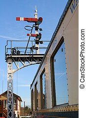 Signals and Gantry - Vintage Railway Signal Gantry and...