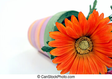 Fallen Flower - Abstract of daisy and flower pot isolated on...