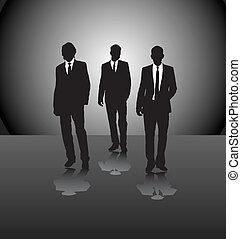 hombres, tres, empresa / negocio