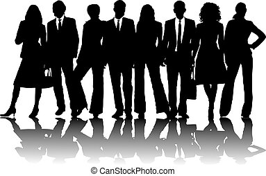 business people 2 - 8 silhouette business people in line in...