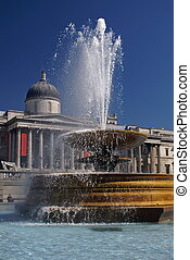 Trafalgar Square - Fountain at Trafalgar Square in London