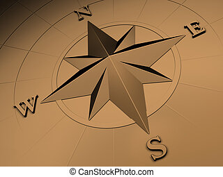 Gold compass rose - Rendered image of compass rose