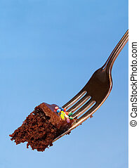 pastel, mordedura, cumpleaños