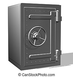 Safe02 - Rendered steel safe over white background